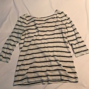 Loft striped top with button back